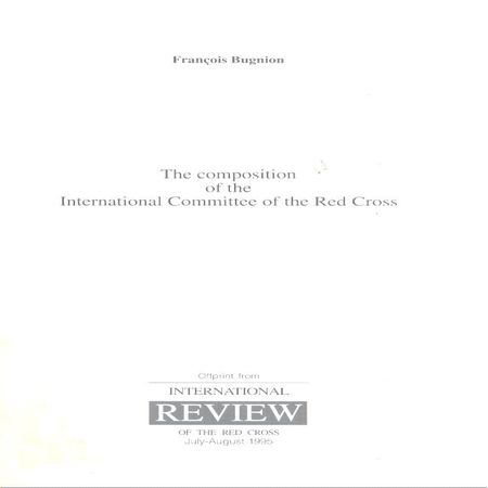 The Composition of the International Committee of the Red Cross